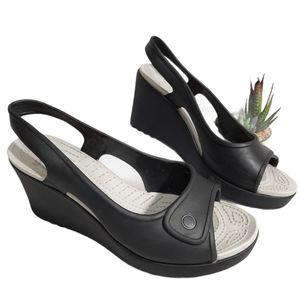 Crocs Havana Danna Black Wedge Shoes 8